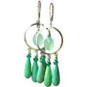 SOLD Green Agate, Onyx, and Chalcedony Chandelier Earrings