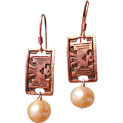 SOLD Vintage Copper Thunderbird and Freshwater Cultured Peach Pearl Earrings