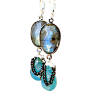 SOLD Gothic Romance Labradorite and Peruvian Blue Opal Earrings