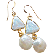 SOLD The Gem Which Dims the Moon Freshwater Cultured Pearl Double Drop Earrings
