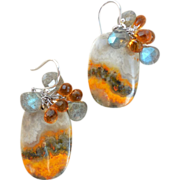 SOLD Yellow Picture Jasper and Citrine, Labradorite Landscape Earrings