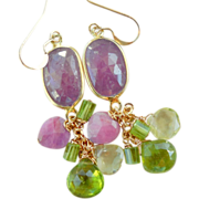 SOLD Pink Sapphire, Peridot, Vesuvianite, Ruby, Lemon Quartz Seduction Earrings