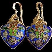 SOLD Blue Cloisonne Heart Drop Earrings