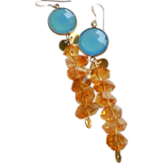 SOLD Tropical Golden Citrine and Azure Blue Water Chalcedony Earrings