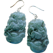 SOLD Year of the Horse Chinese Carved Jadeite Drop Earrings