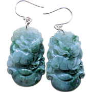 SOLD Year of the Rabbit Chinese Zodiac Jadeite Earrings