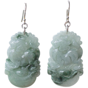 SOLD Year of the Dog Chinese Zodiac Jadeite Earrings