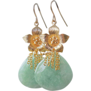 SOLD Moss Aquamarine Floral Contemporary Earrings