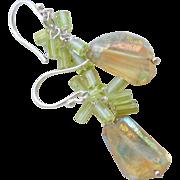 SOLD Peridot, Lemon Quartz Spring Sun Drop Earrings