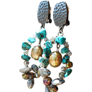 SOLD Boho Blue Labradorite, Pyrite Wire Wrapped Clip Earrings