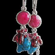 SOLD Southwest Ruby Earrings with Garnet