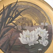 Signed M P Water Lily Artwork Painting  on Brass / Tin