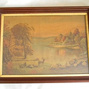 Large Chromolithograph in  Walnut Frame