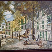 John F Cathcart . signed 1938 Oil Painting CityScape