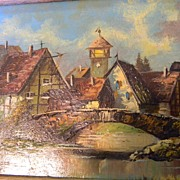Durr . signed . Swiss Village Landscape small oil painting