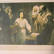 Signed . Heinrich Hofmann 1824-1911   . Christ in the temple Print