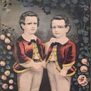 """"""" Little Brothers """" Currier & Ives Original print , Framed"""