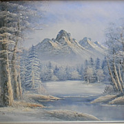 """Antonio . signed 42"""" x 30"""" Framed Oil painting Winter Landscape"""