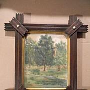 Signed . Oil painting Landscape in Victorian Walnut Cross Corner Frame