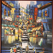 """Oil Painting Impressionistic City Scene 23"""" x 29"""" Framed"""