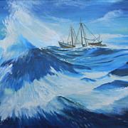 "Nic Glowacky .  30"" x 24"" Oil Painting Seascape Ship at Sea"
