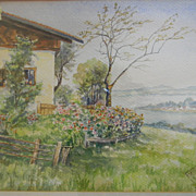 F Moller . Watercolor painting Landscape