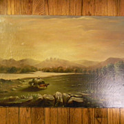 "Antique oil painting . 26"" x 16"" . Cows / Hay Wagon / Landscape"