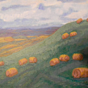 Kay . Oil Painting . Hilly Landscape . Teasel Hill, Waterville, NY