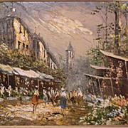 "Kressley . 36"" x 24"" O/C .  FABULOUS Impressionism . Heavy Impasto . Paris Scene"