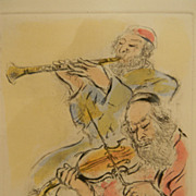 Ira Moskowitz (1912 - 2001) . listed artist . Etching . Musicians