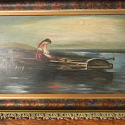 Vintage Oil Painting . Lady in Row Boat