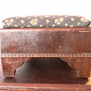 Antique Beautiful Wood Footstool Foot Stool - Recovered