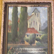 "Kassel . Antique Oil Painting on 14"" x 20"" Canvas"