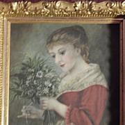Antique Oil Painting on Canvas . Portrait . Fabulous Frame
