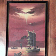 Oil Painting - Red Sunset Small Fishing Boats