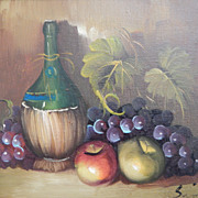 Signed . Still Life Painting - Wine Bottle, Grapes, Apples
