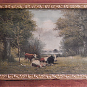 G Willis . Antique Landscape Oil Painting .1903 . Cows in Pasture