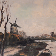 Windmill Oil Painting - Nice Deep Walnut Frame
