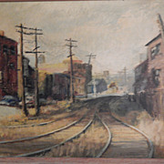 """Louise Reed . Signed Painting - """"Castle Crossing on the FallBrook Line"""""""