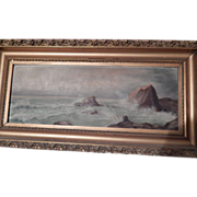 Antique Oil Painting Seascape - on Academy Board -