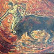 Listed Artist Edith Montlack - Large Oil on Canvas Bull & Matador