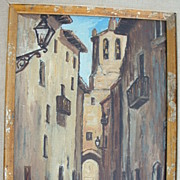 Blanco . South American Cityscape Oil on canvas  , signed