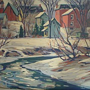 Framed Gouache Painting - Winter Creekside Town Scene
