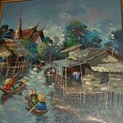 Signed  Oil on Canvas Painting Oriental Fishing Village