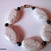 White Magnesite And Chocolate Brown Swarovski Pearl Bracelet