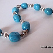 Pretty Blue Turquoise and Silver Bracelet