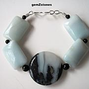 Chunky Blue Green Amazonite, Black Tourmaline And Onyx Bracelet