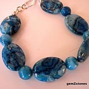 Vibrant Blue Crazy Lace Agate Bracelet