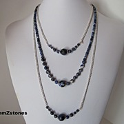 Blue And White Sodalite And Silver Chain Triple Strand Necklace
