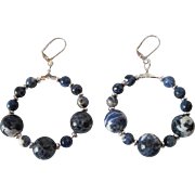 Blue And White Sodalite And Silver Large Hoop Earrings